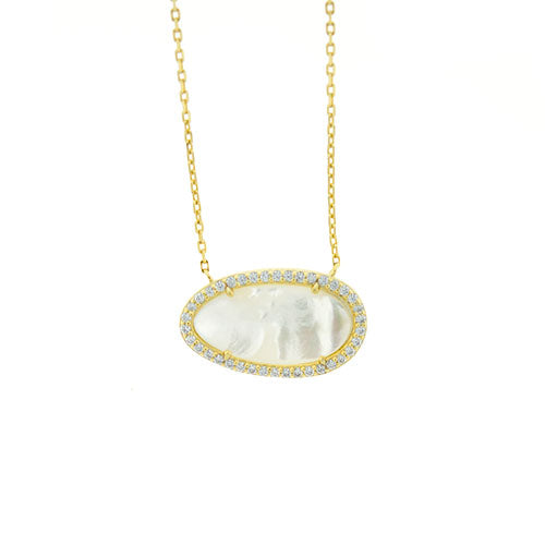 Gold Vermeil CZ Mother of Pearl Necklace
