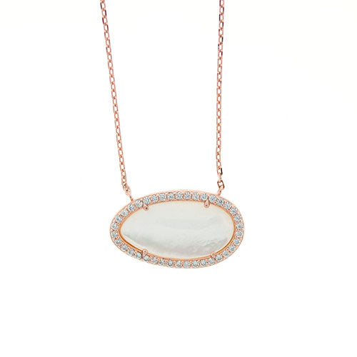Rose Gold CZ Mother of Pearl Necklace