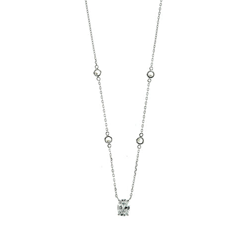 Oval CZ Chain Link Necklace