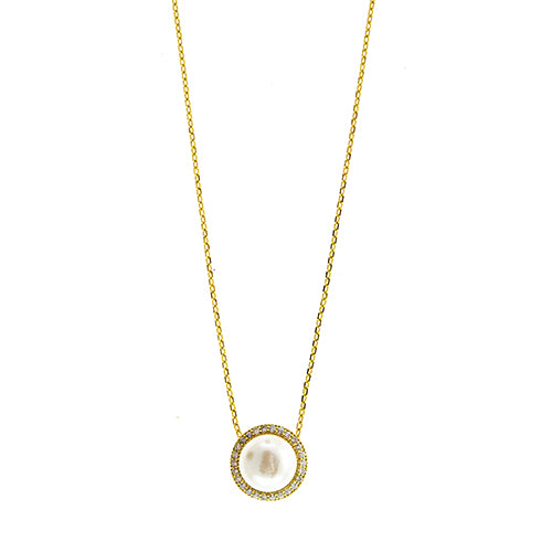 9mm Pearl Halo Necklace