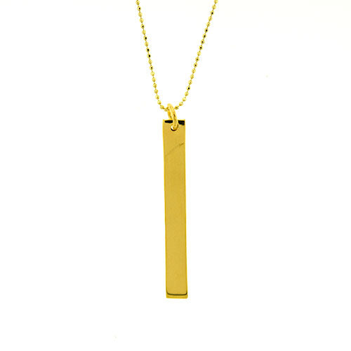 Gold Vermeil Long Bar Necklace