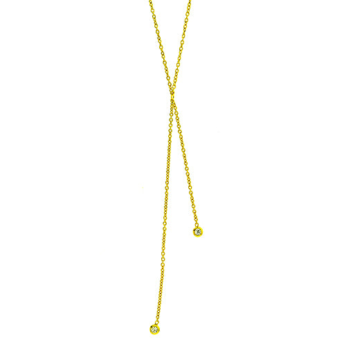 Two CZ Lariat Necklace