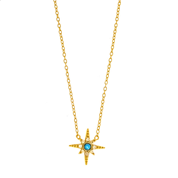 Gold Vermeil Blue Opal and CZ Star Necklace