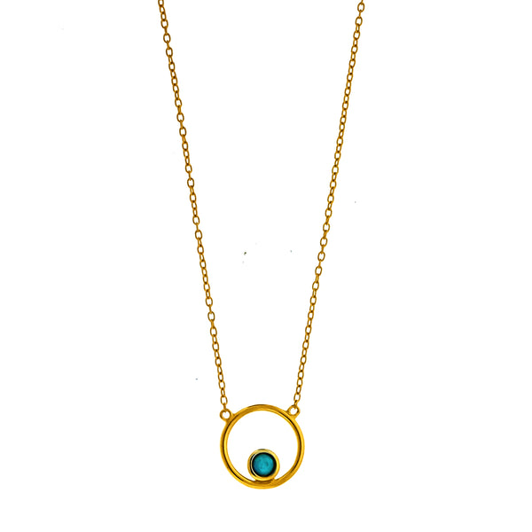 Gold Vermeil Floating Blue Opal Circle Necklace