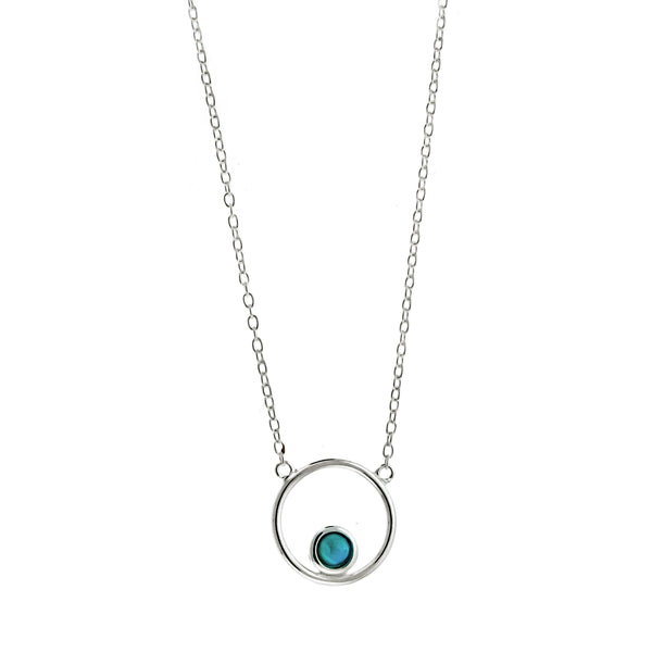 Floating Blue Opal Circle Necklace