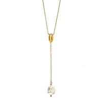 Gold Vermeil Baroque Pearl and Shell Lariat Necklace