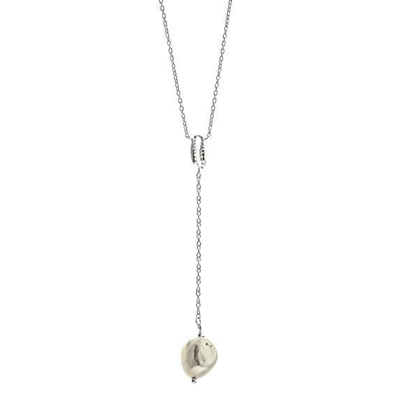 Baroque Pearl and Shell Lariat Necklace