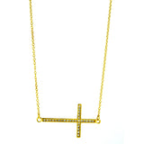 CZ Sideways Cross Necklace