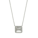 Rhodium Square CZ Necklace