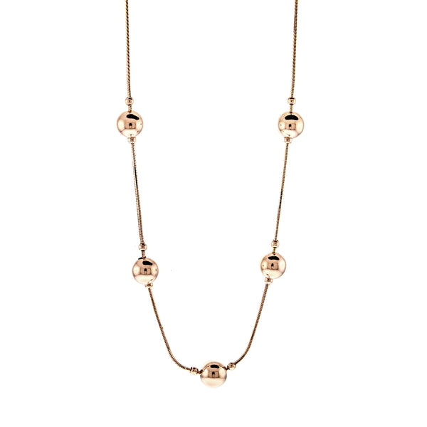 Rose Gold Ball Station Necklace