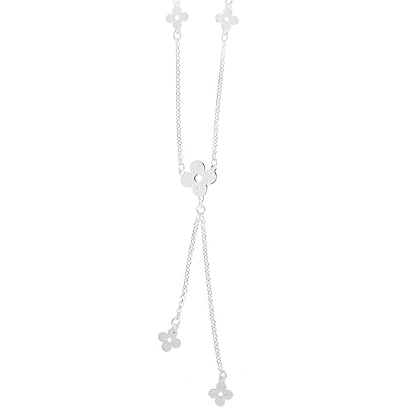 Silver Clover Lariat Necklace
