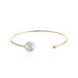Pearl and Bead Cuff Bangle Bracelet
