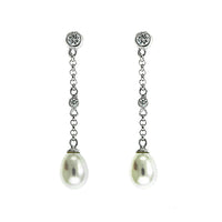 Pearl and CZ Dangling Earrings