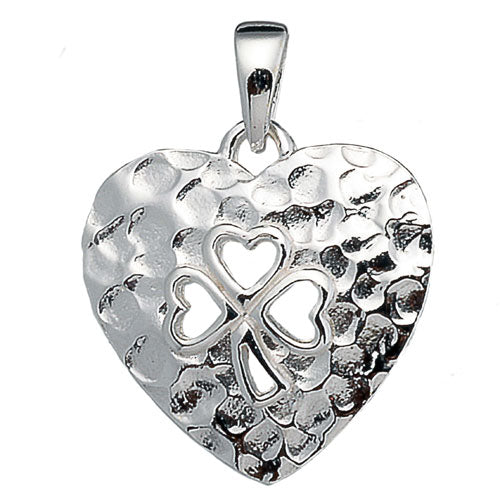 Hammered Open Clover Heart Pendant