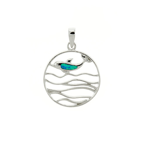 Round Blue Opal Dolphin Pendant