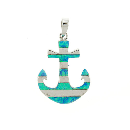 Blue Opal Striped Anchor Pendant