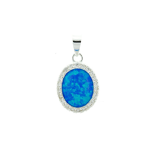 Oval Blue Fire Opal and CZ Pendant