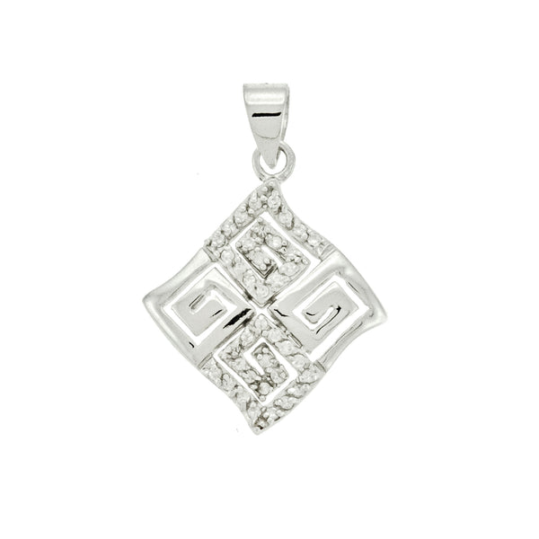 CZ Diamond Greek Key Pendant