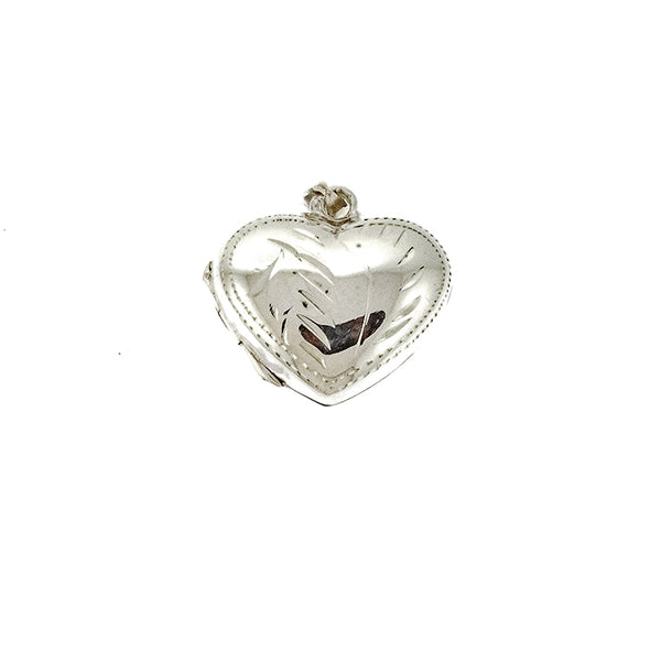 Design Etched Wide Heart Locket