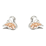 Rose Gold Swan Earrings