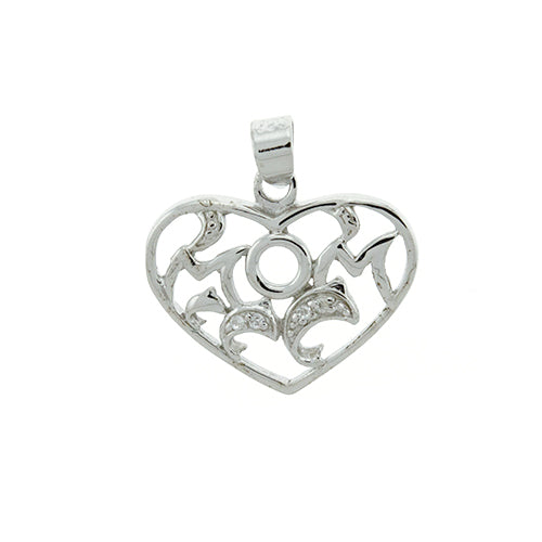 CZ Mom and Dolphin Heart Pendant