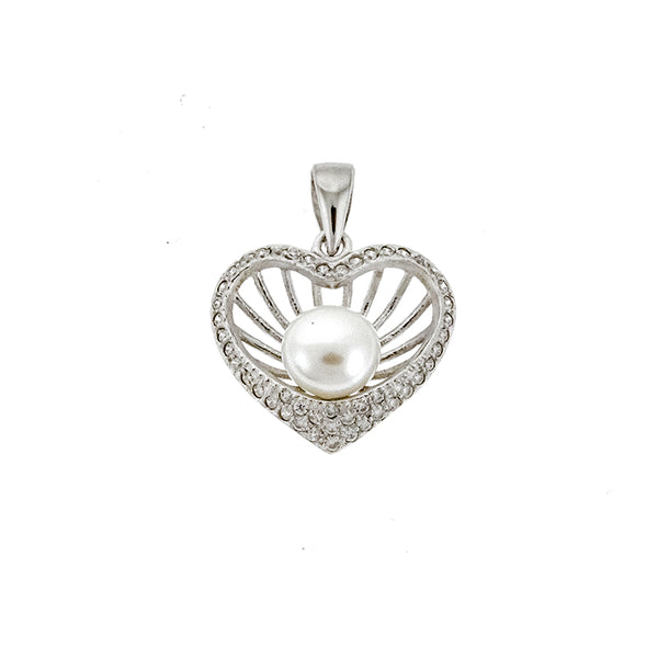 CZ Heart and Pearl Pendant