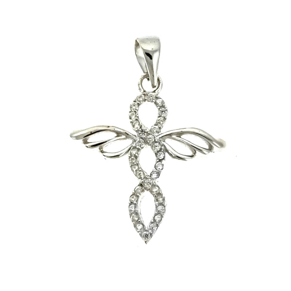 CZ Wing Cross Pendant