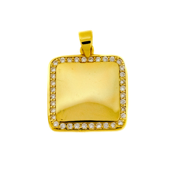 Gold Square Halo Pendant