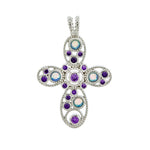 Amethyst and Opal Cross Pendant