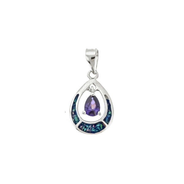 Opal and Amethyst Teardrop Pendant