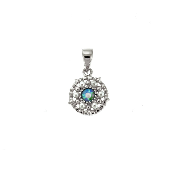 Round Opal and Pearl Pendant