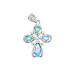 Opal and Pearl Cross Pendant