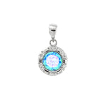 Round Opal and CZ Pendant