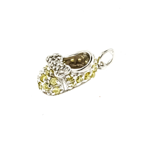 Yellow Topaz CZ Baby Shoe Pendant