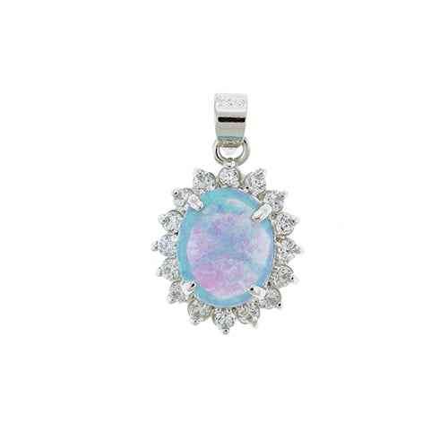Blue Opal and CZ Sunflower Pendant
