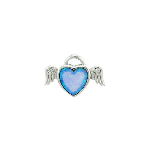 Blue Opal Heart Wing Pendant