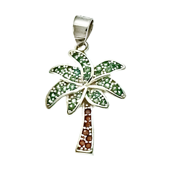 Multicolor CZ Palm Tree Pendant