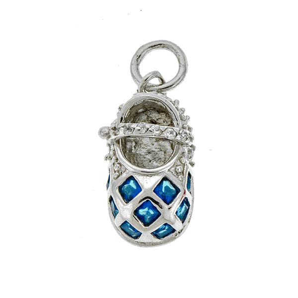 Blue Checkered CZ Baby Shoe Pendant