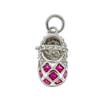 Red Checkered CZ Baby Shoe Pendant