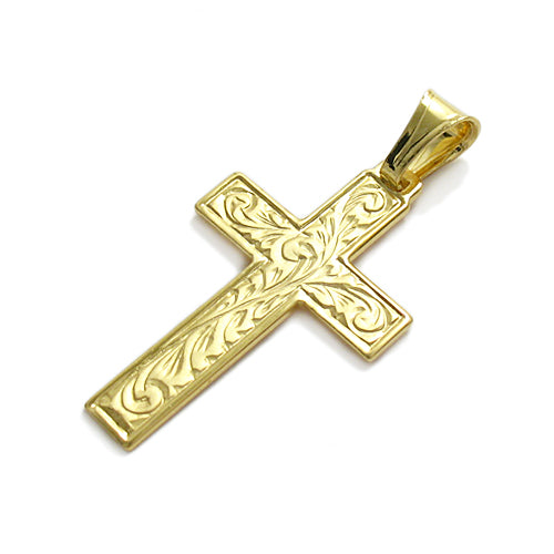 Gold Vermeil Satin Filigree Cross Pendant