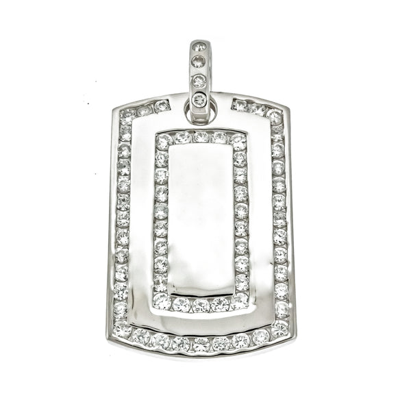 Men's CZ Dog Tag Pendant