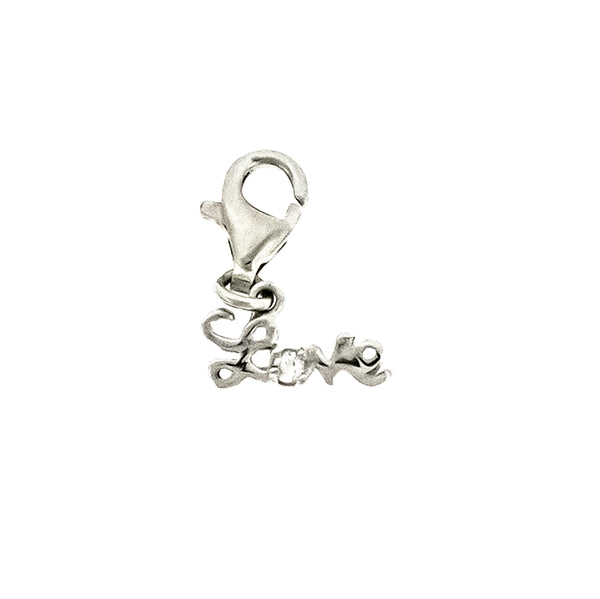 CZ Love Charm with Lobster Lock