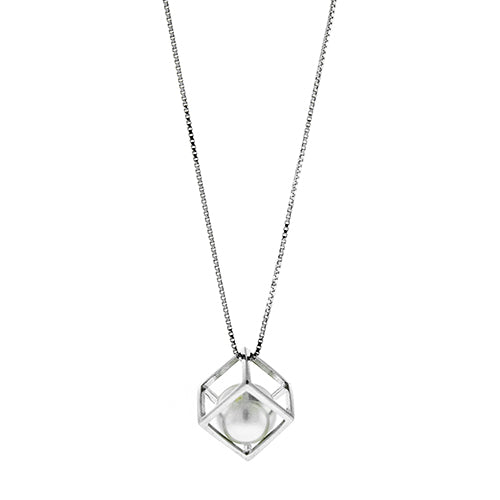 Square Cube Pearl Necklace