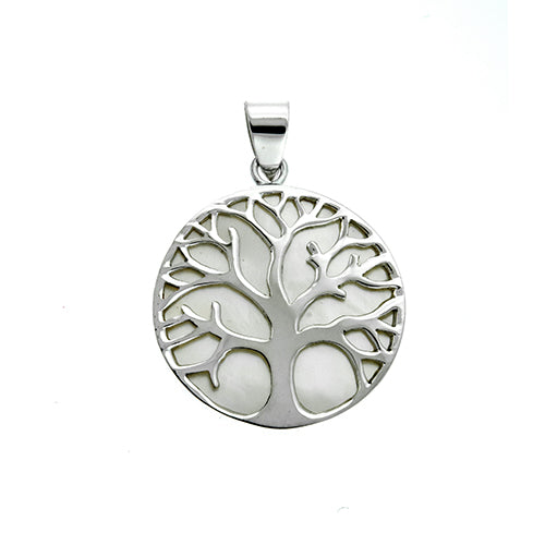 White Shell Tree of Life Pendant