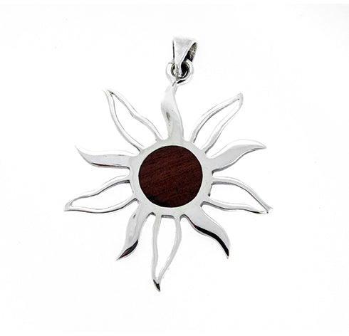 Small Wood Sun Pendant