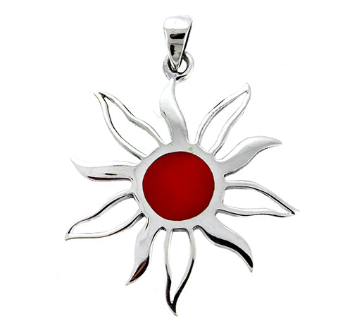Small Red Coral Sun Pendant