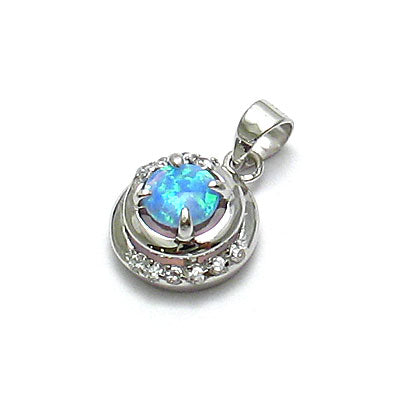 Round Blue Opal and CZ Pendant