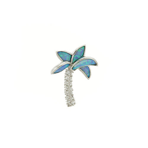 Blue Opal and CZ Palm Tree Pendant