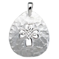 Hammered Open Celtic Cross Teardrop Pendant