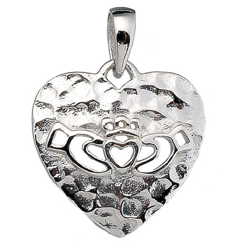 Hammered Open Claddagh Heart Pendant